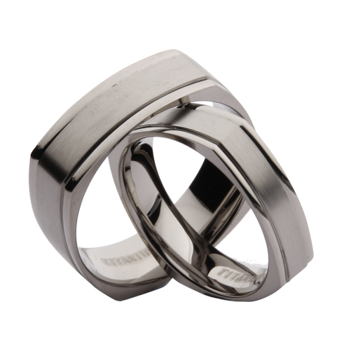 5 7mm his hers titanium square matt and polished wedding