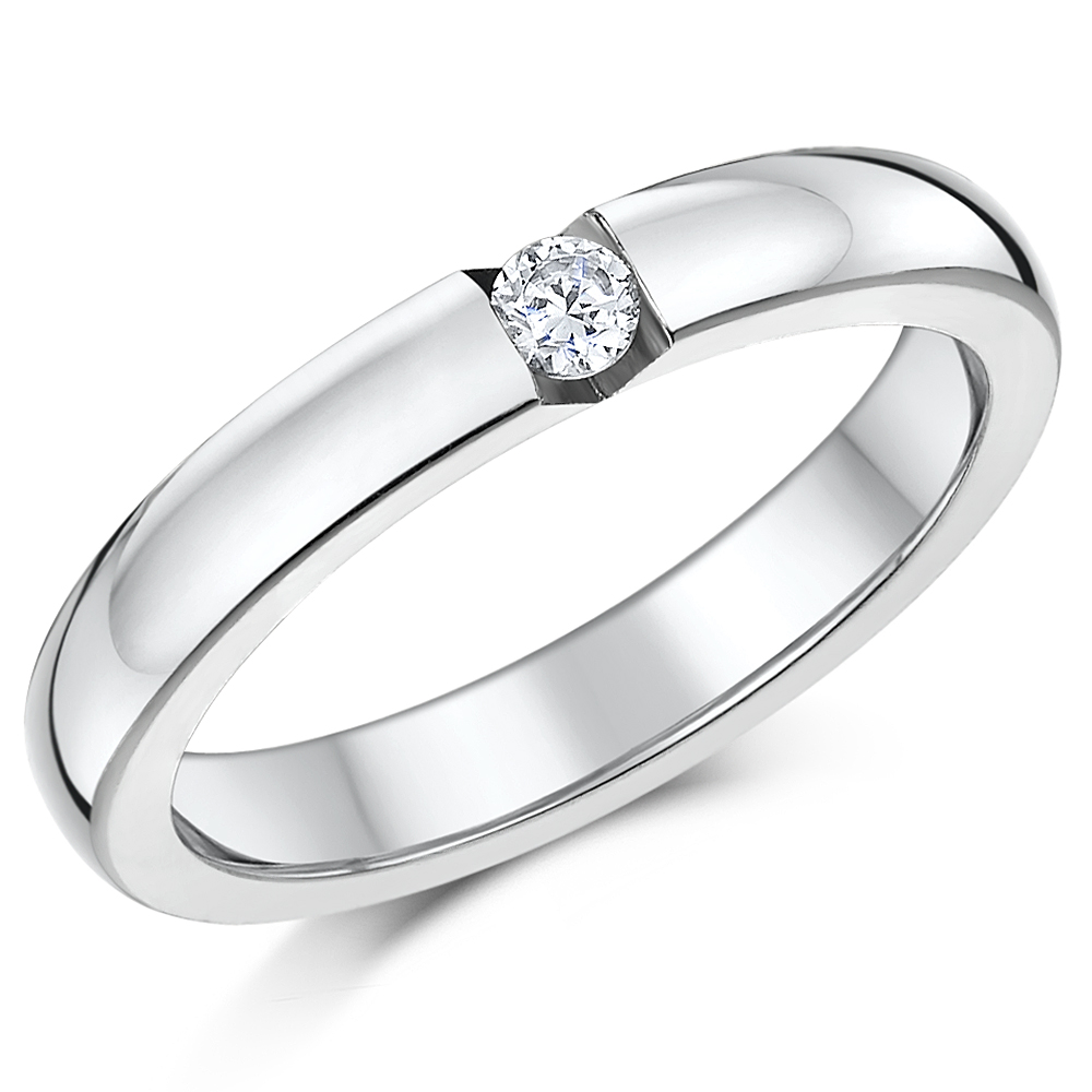 Titanium Bridal set cz engagement  single stone ring