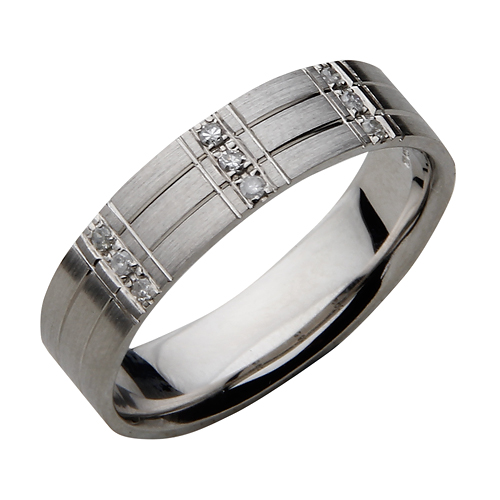 6mm Palladium Flat Court Grooved Diamond Wedding Ring Band