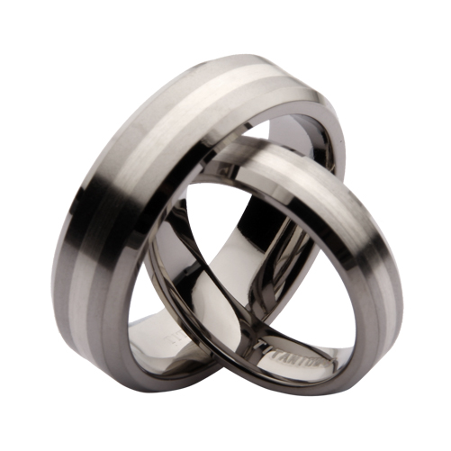 5 7mm titanium and silver his hers bevelled edge wedding
