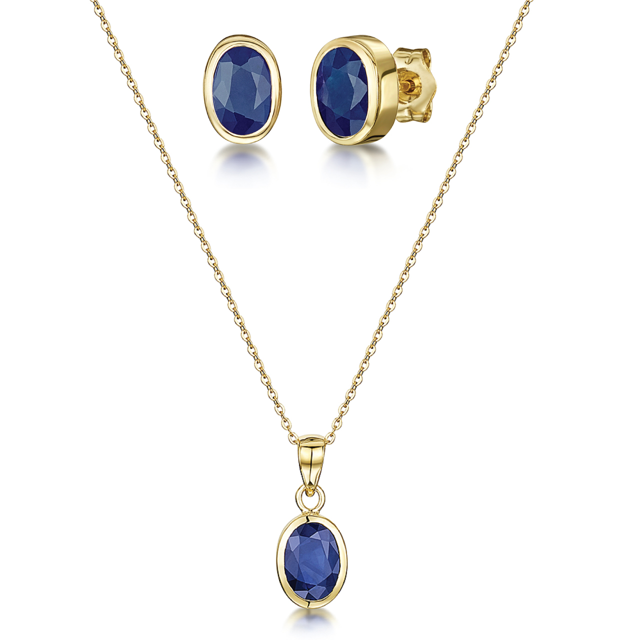 9ct Yellow Gold 18'' Chain Pendant & Earrings Blue