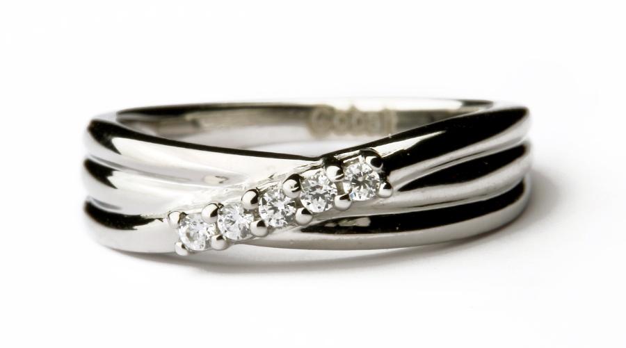 Cobalt Triple Grooved 5 Stone 4mm Engagement Ring Cobalt