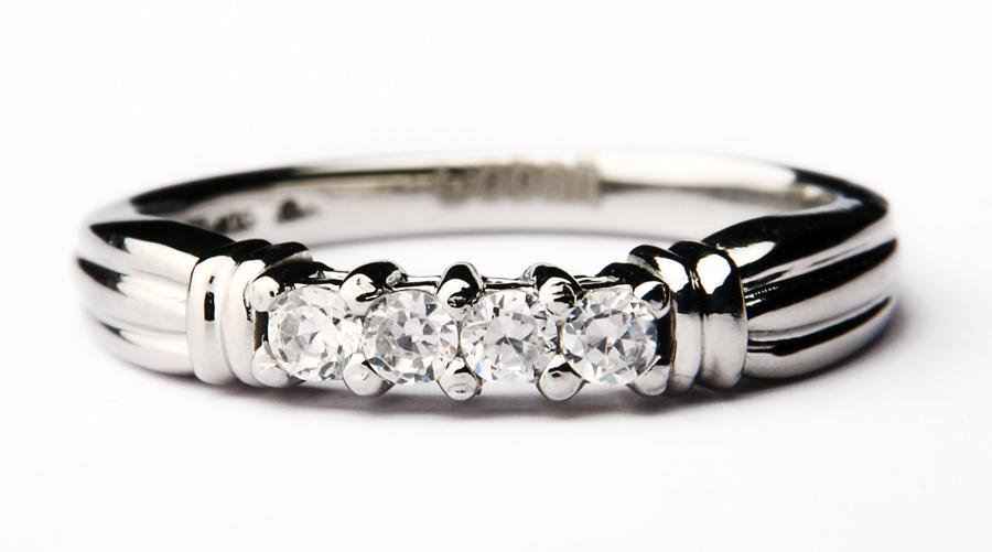 Cobalt Engagement Eternity 4 Stone 3mm Ring Cobalt Rings