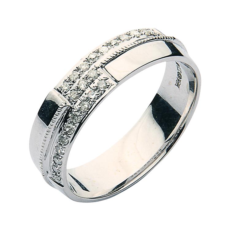 6mm mens 9 carat white gold set wedding ring band