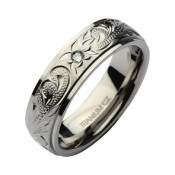 6mm Hand Engraved Titanium CZ Stone Wedding Ring Band