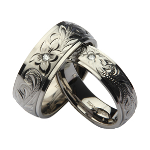 His Amp Hers Titanium Hand Engraved CZ Stone Wedding Rings 6amp8mm