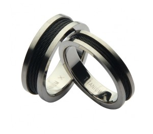 His & Hers Titanium Black Steel Cable Wedding Rings 5&7mm