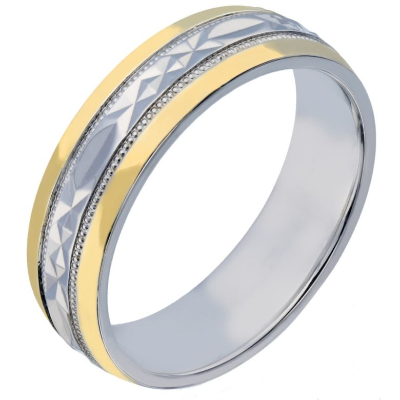 6mm s silver 9ct yellow gold patterned wedding ring