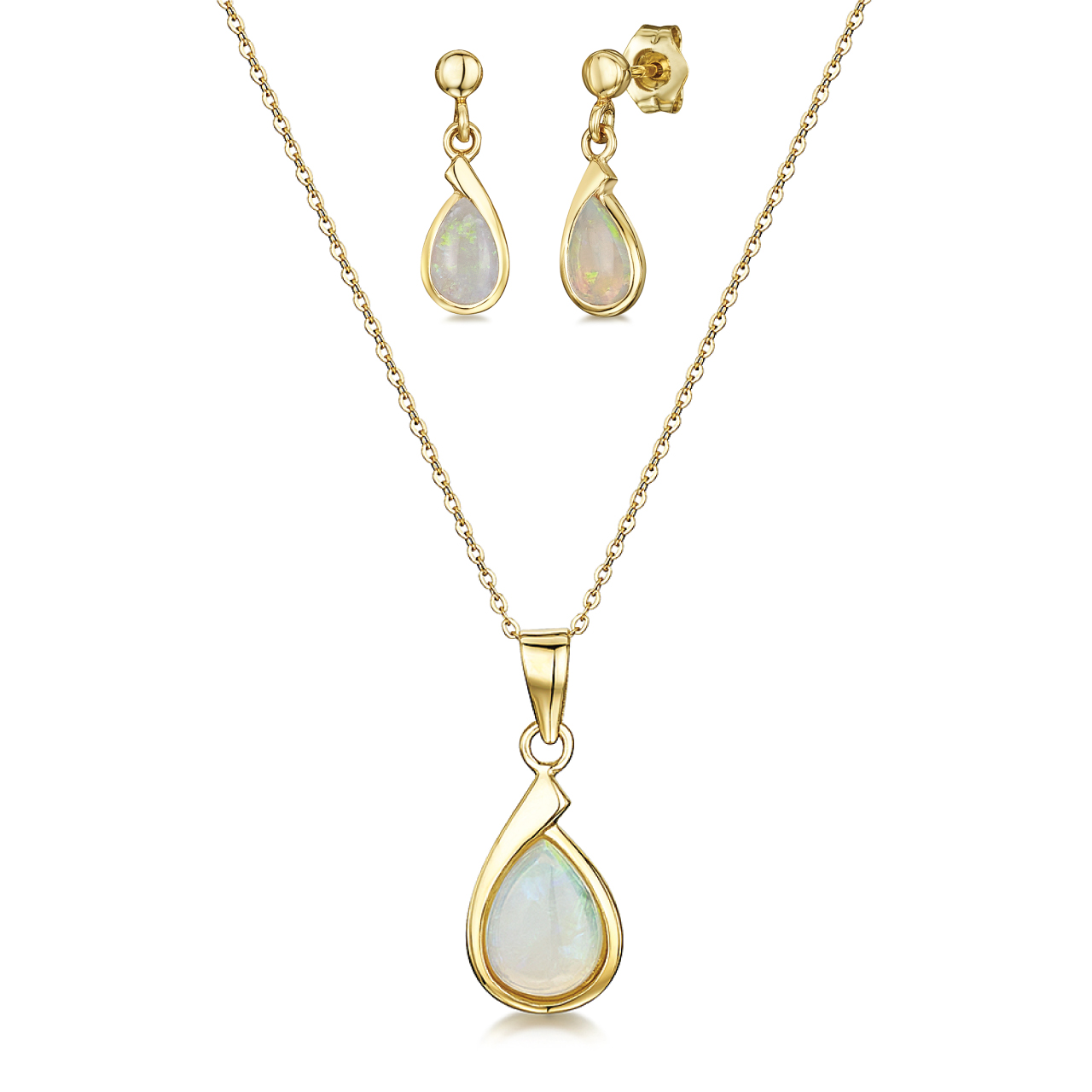 9ct Yellow Gold Opal 18'' Chain Pendant & Drop Earrings