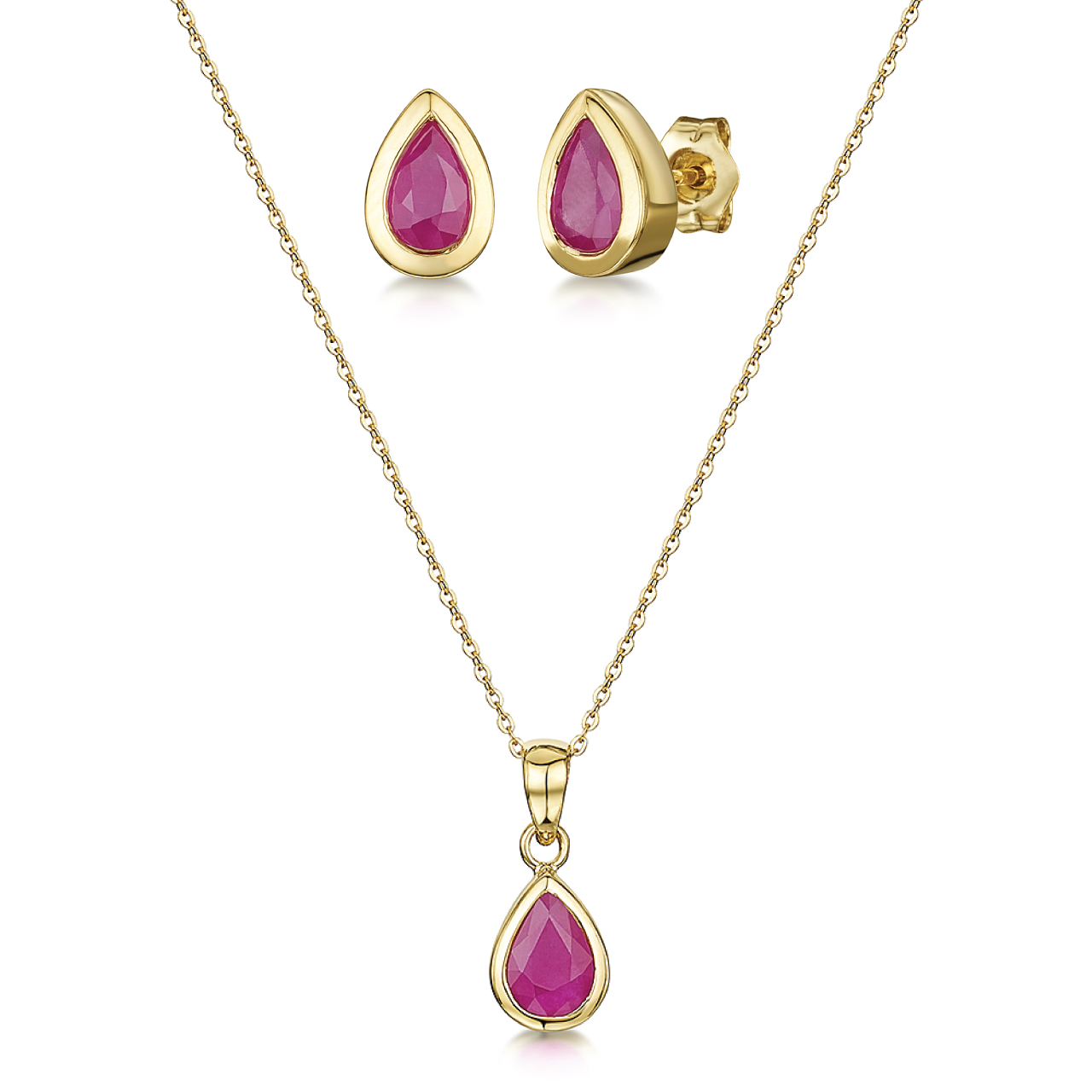 9ct Yellow Gold Ruby Set 18'' Chain Pendant & Stud