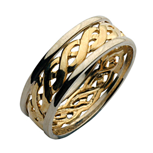 6mm two colour yellow white gold celtic wedding ring