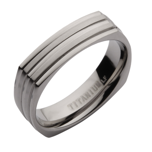 5mm Titanium Square Shaped Wedding Ring Band Titanium Rings at Elma UK Jewe