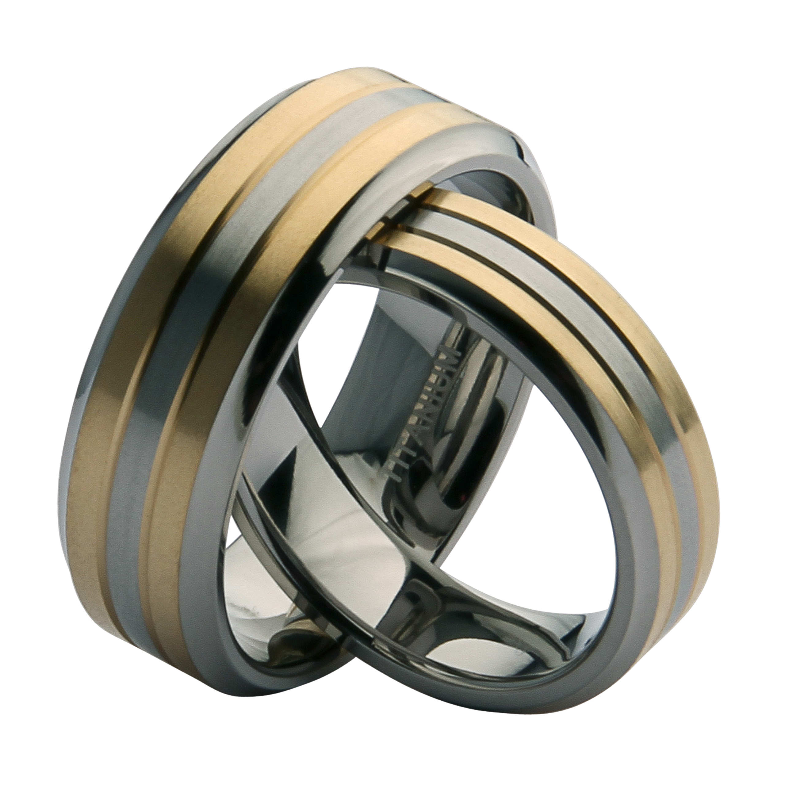 his hers 6 8mm titanium two tone wedding rings