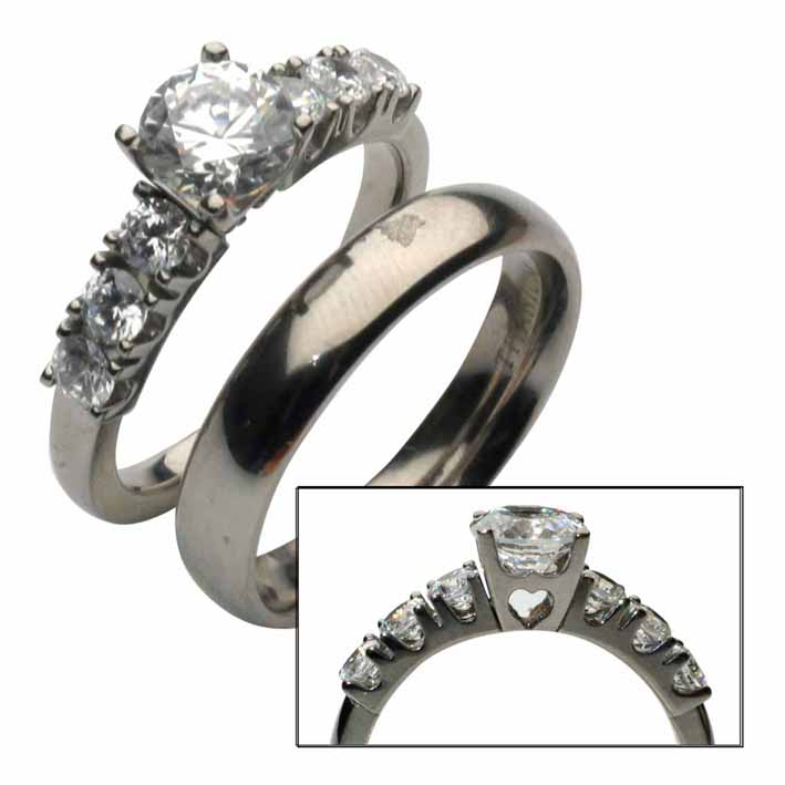 titanium bridal set engagement wedding ring