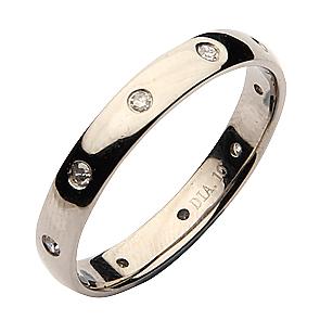 3mm Palladium Court Shaped Diamond Wedding Ring Band