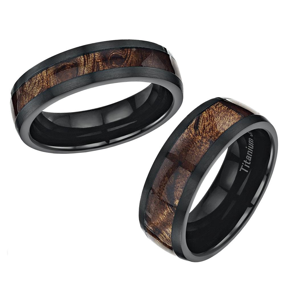 black titanium wedding ring band set inlayed with koa wood titanium