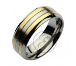 8mm Titanium Two Tone Wedding Ring Band