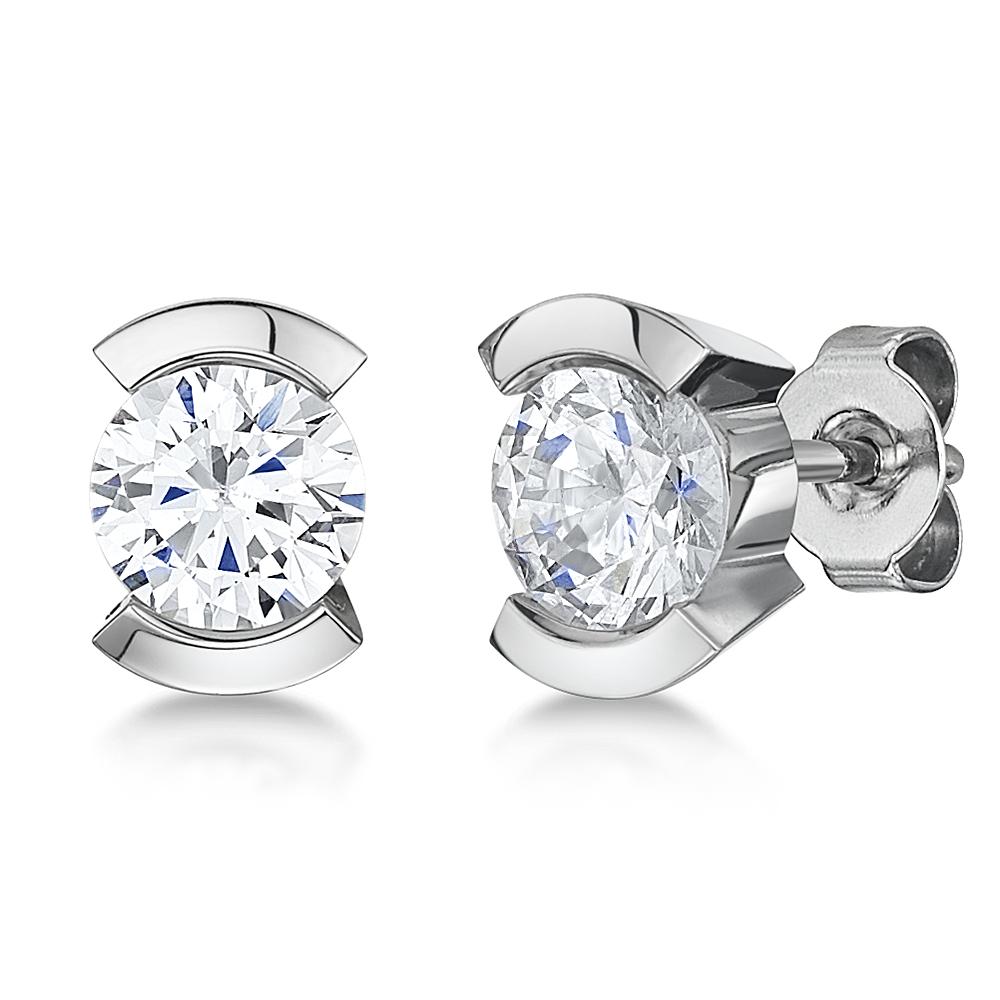 Titanium Cz Crystal Stud Earrings