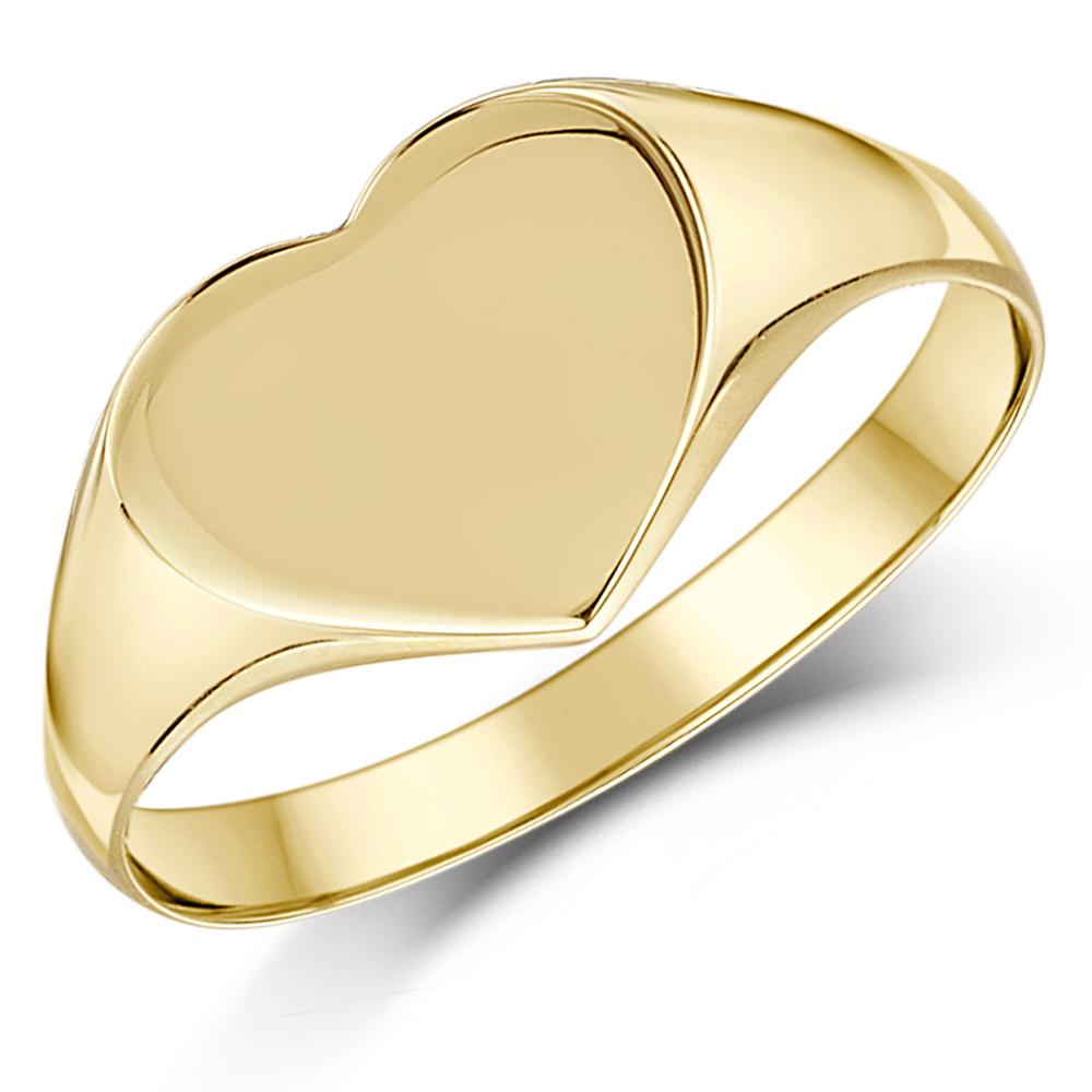 9ct Yellow Gold Heart Shape Ladies Signet Ring Ladie S