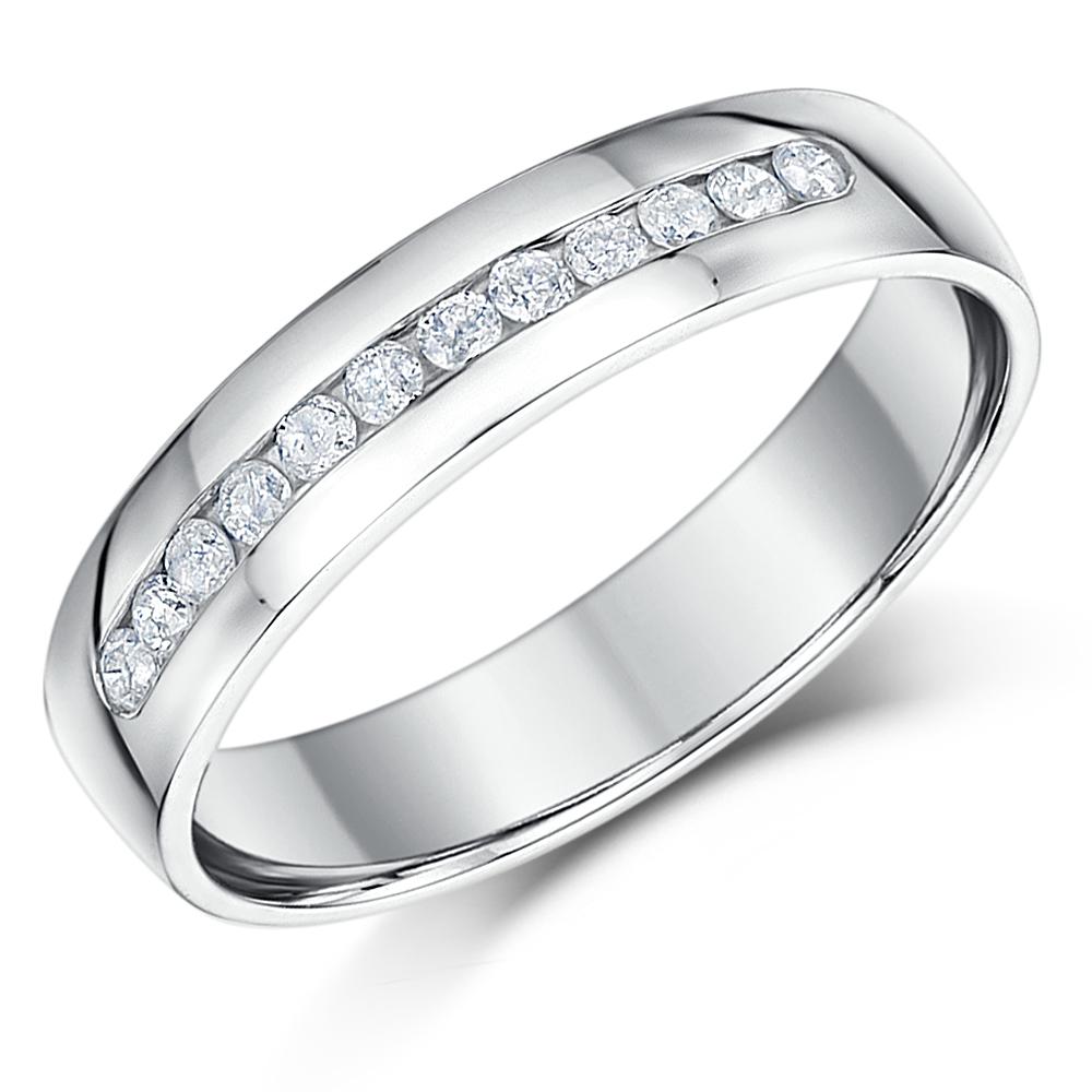 4mm Palladium Slight Court Diamond Wedding Ring Band