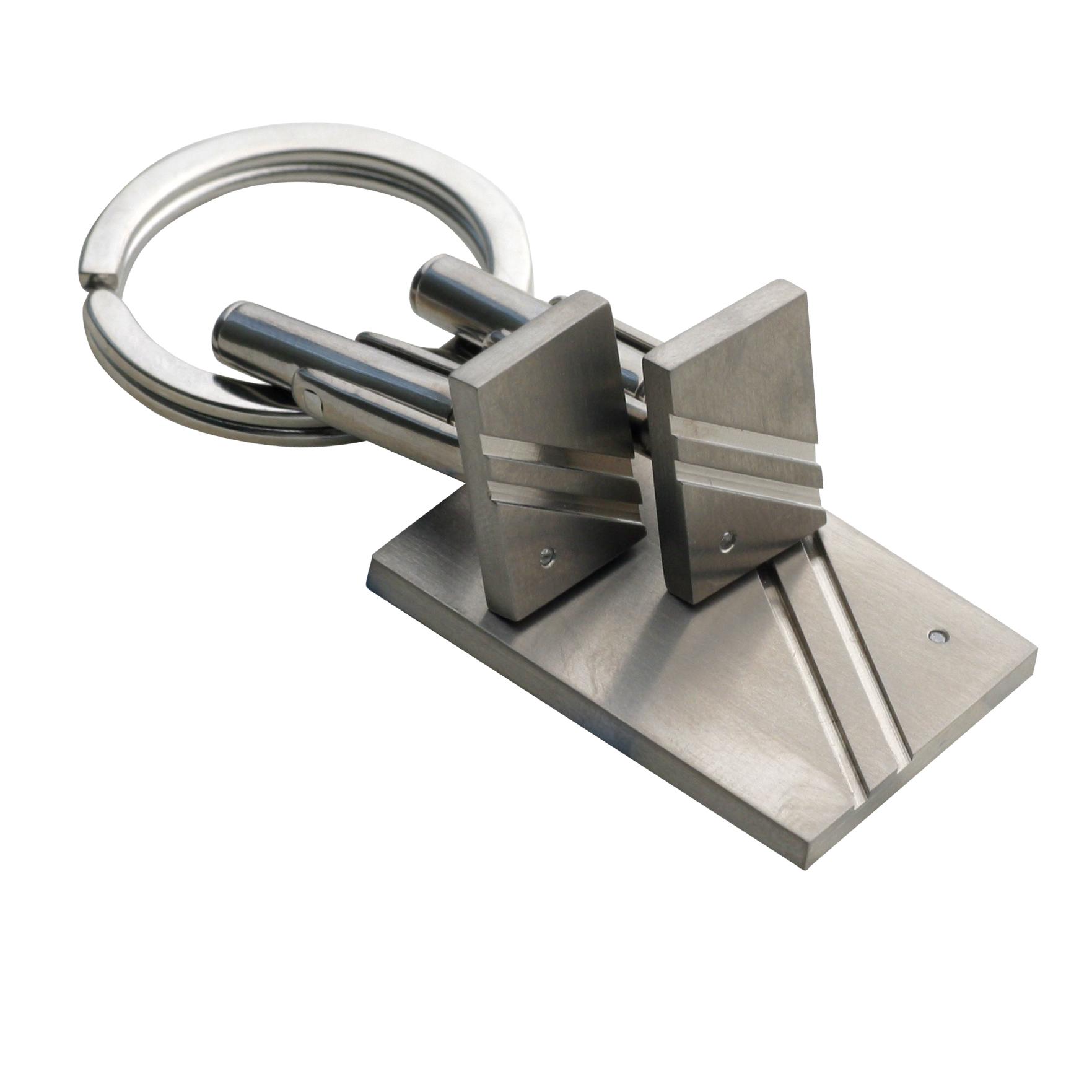 Titanium Stone-Set Cufflink And Keyring