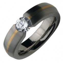 Titanium & 9ct Gold .85 Single Stone Engagment Ring