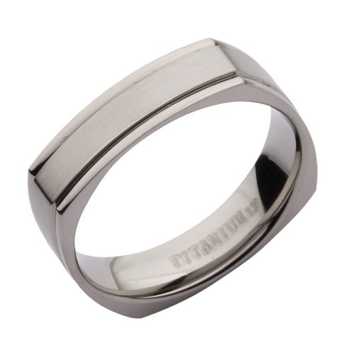 5mm Titanium Square Matt and Polished Wedding Ring Band