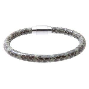 Stainless Steel Snakeskin Leather Bracelet