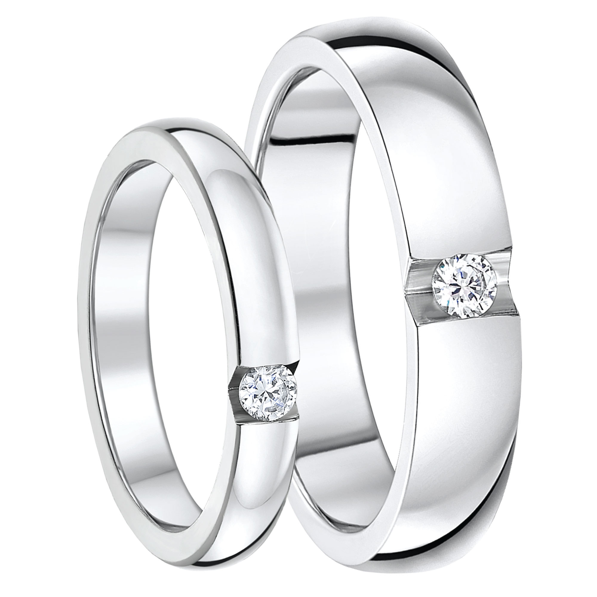 his hers 35mm titanium cz stone engagementwedding ring bands - Titanium Wedding Ring Sets
