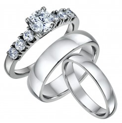 His & Hers Solitaire Engagement & Court Wedding Rings 4&6mm