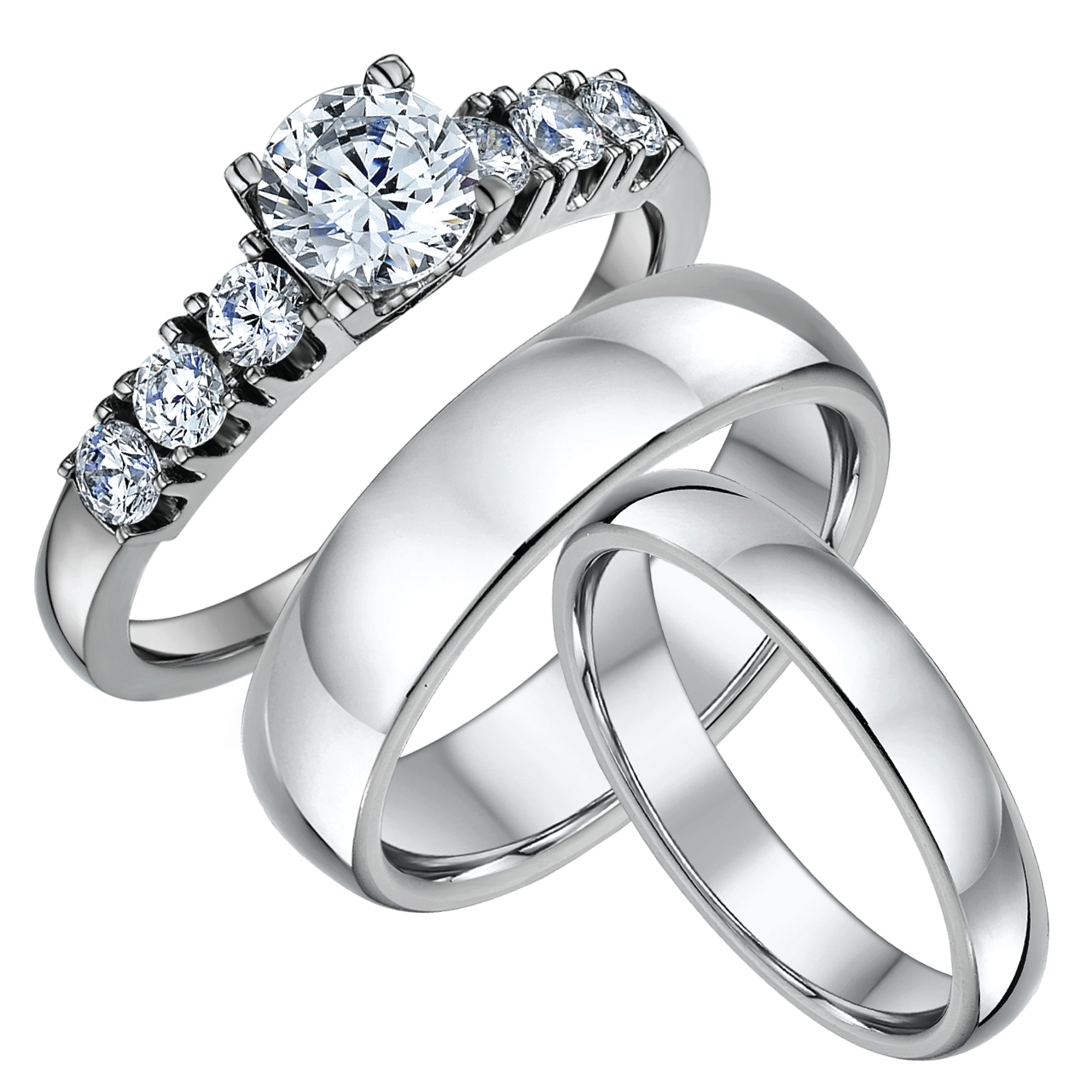 His & Hers Solitaire Engagement & Court Wedding Rings 4