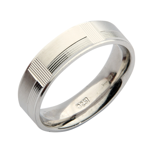 6mm Sterling Silver Patterned Wedding Ring Band