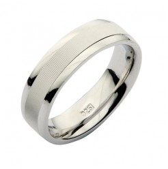 6mm Patterned Sterling Silver 925 Wedding Ring Band