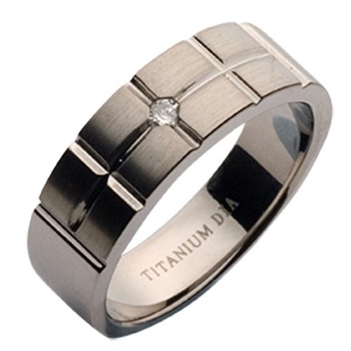 ''Sale'' 7mm Brick Style Titanium Diamond Wedding Ring