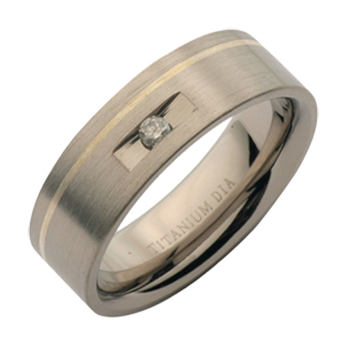 7mm Titanium Two Tone Diamond Wedding Ring Band
