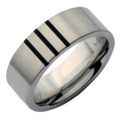 8mm Stainless Steel Stripe Design Wedding Ring