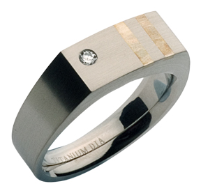 5mm Diamond Stone Set Titanium Signet Ring