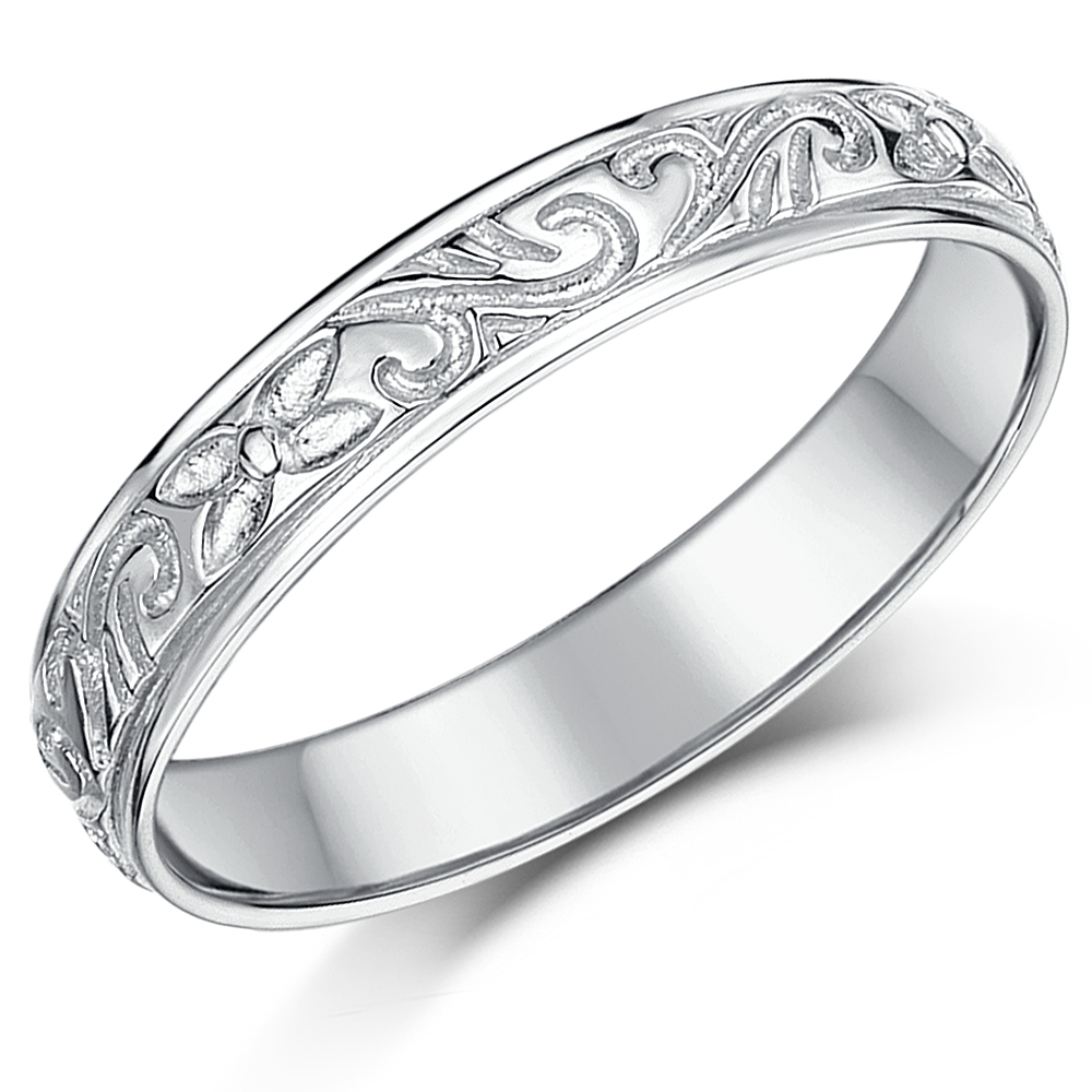 White Gold Bands: White Gold Patterned Rings And Wedding Bands For Men And Women