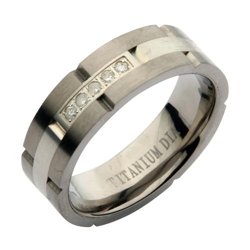 7mm Titanium & Silver Diamond Wedding Ring