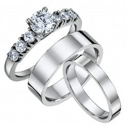 His & Hers Solitaire Engagement & Flat Court Wedding Rings 4&6mm