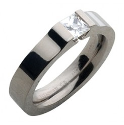 5mm Titanium Engagement Square CZ Stone Ring