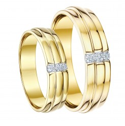 His-Hers 5&6 9ct Yellow Gold Diamond Wedding Rings