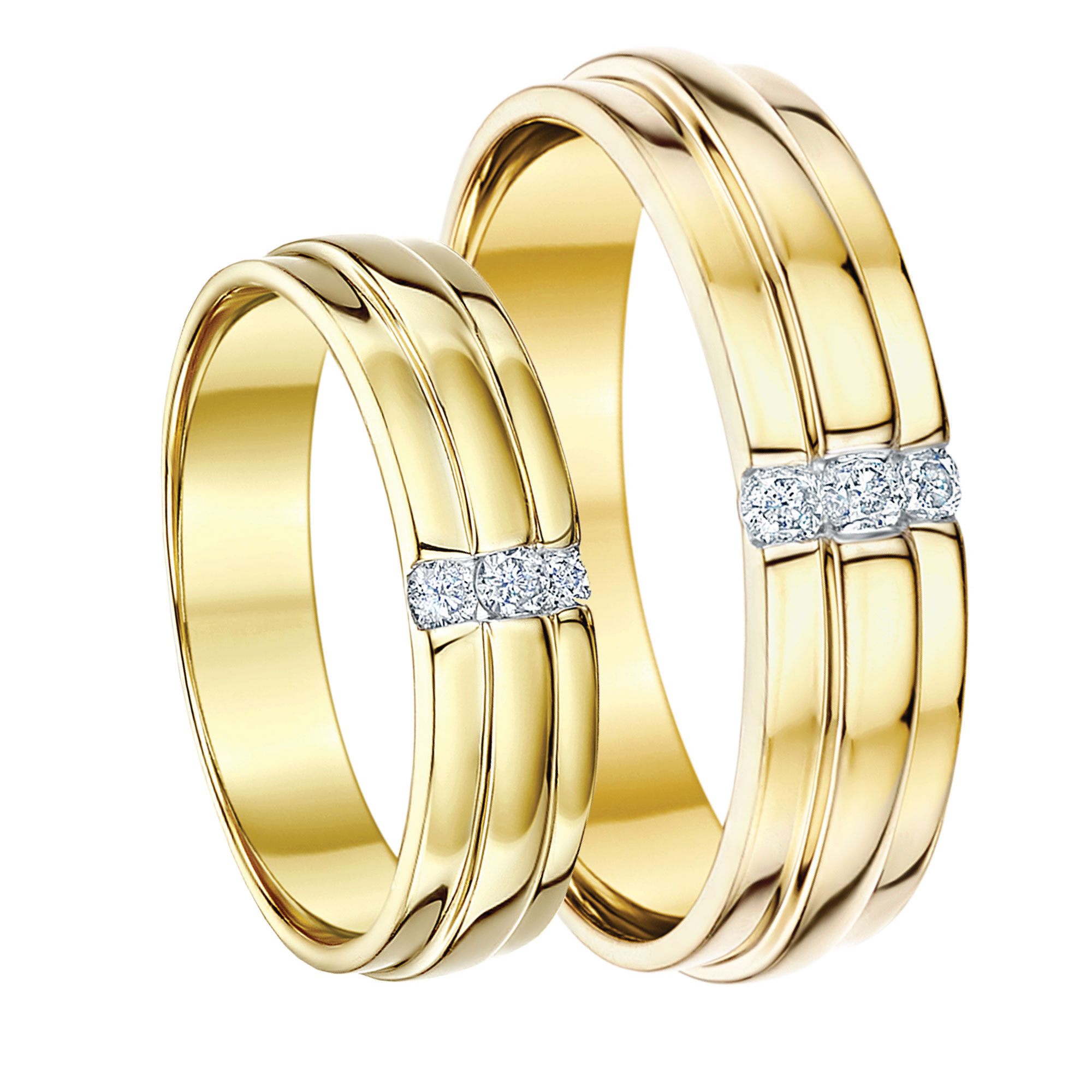 hishers 5amp6 9ct yellow gold diamond wedding rings