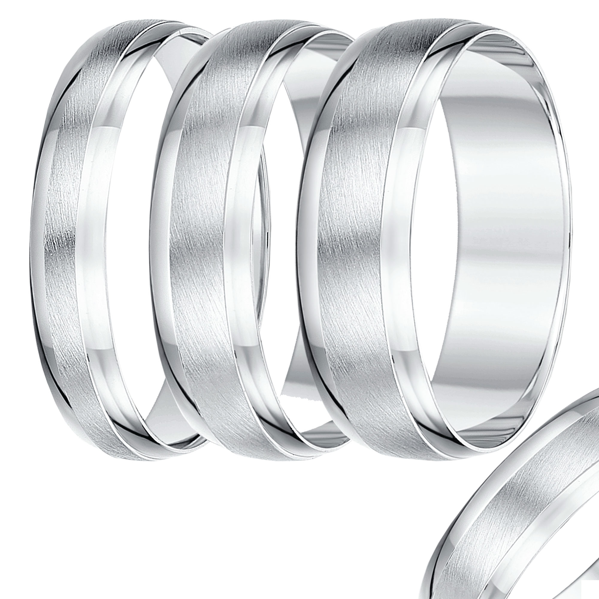 4mm-8mm White Gold Textured & Polished Wedding Band