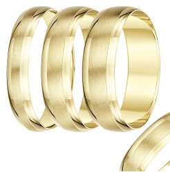 4mm-8mm Yellow Gold Textured & Polished wedding rind band