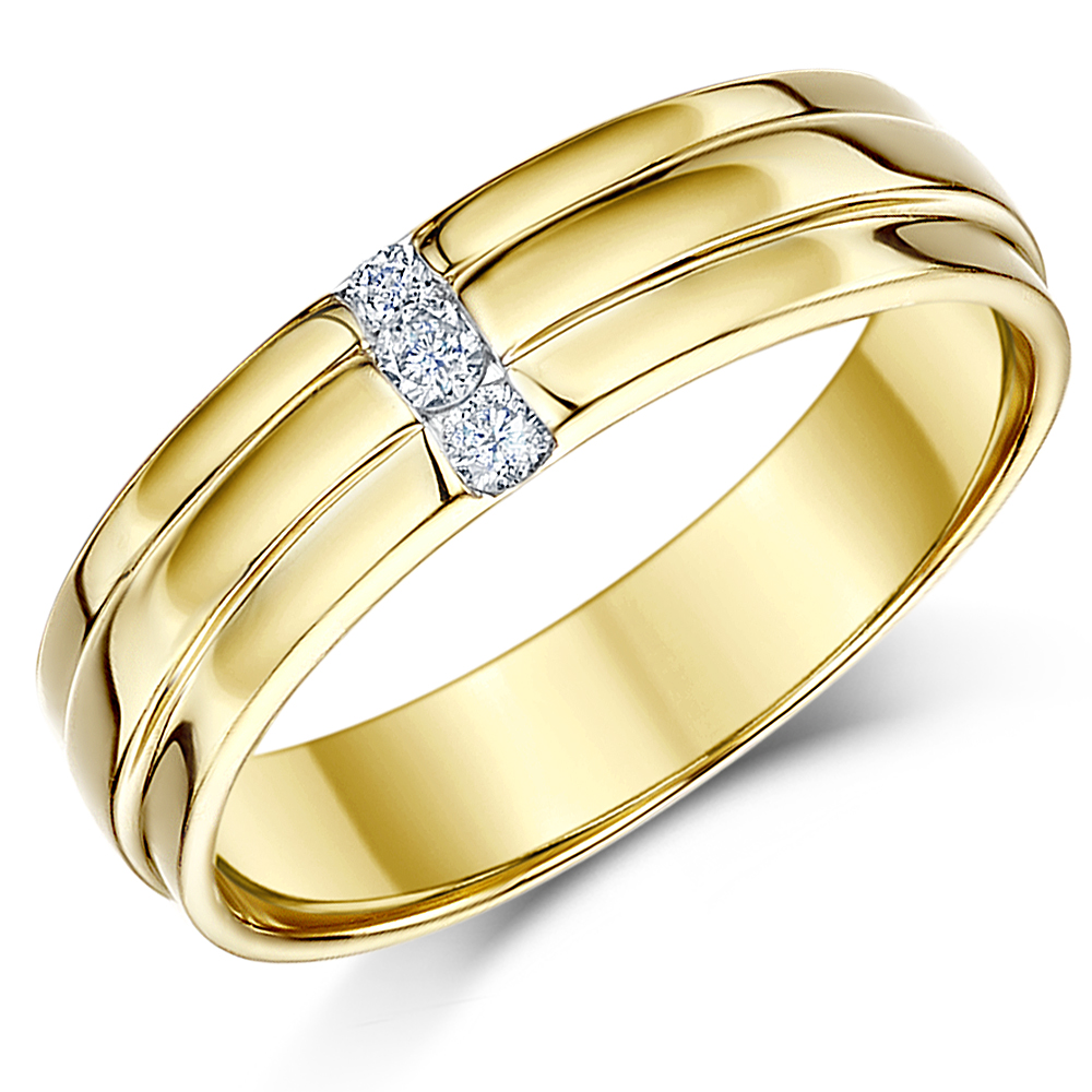 5mm 9 carat Yellow Gold Diamond Set Wedding Ring Band