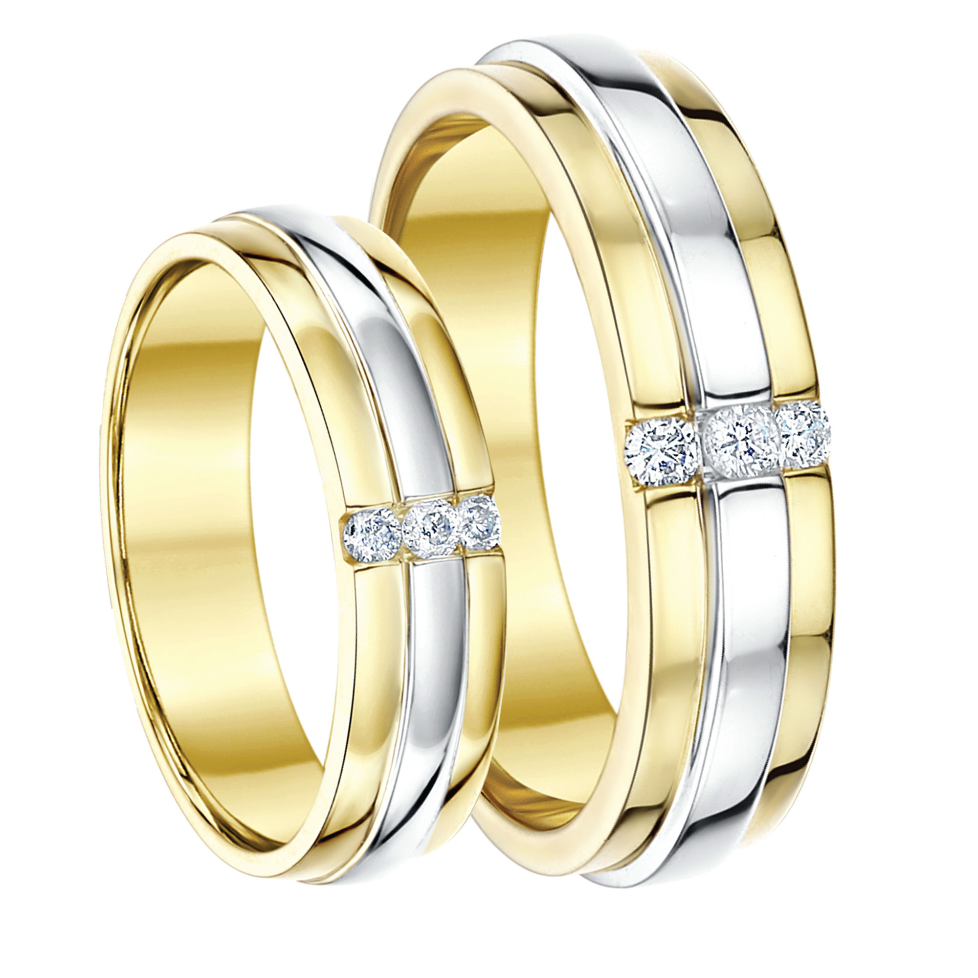 His Hers 5&6mm 9ct Two Colour Yellow & White Gold Diamond Rings