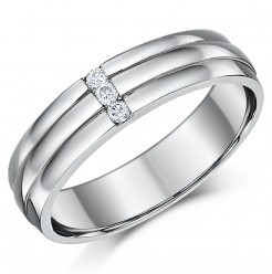 5mm Palladium Diamond Wedding Ring Band