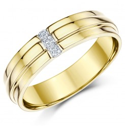 6mm 9 carat Yellow Gold Diamond Set Wedding Ring Band