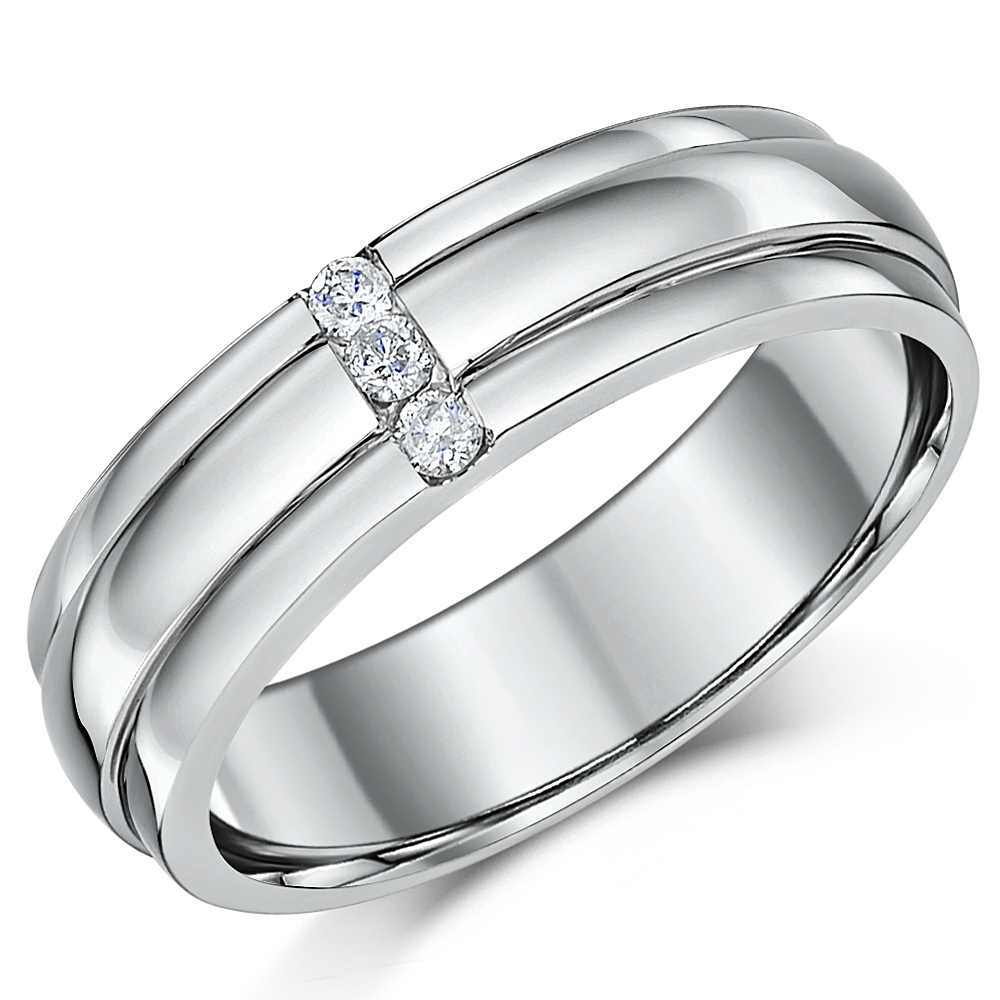 His & Hers Palladium Diamond Wedding Rings 5&6mm Grooved